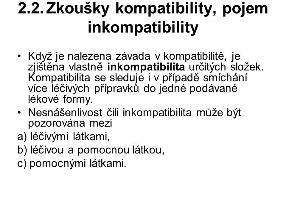 2.2.Zkoušky kompatibility, pojem inkompatibility Když je nalezena závada v kompatibilitě, je zjištěna vlastně inkompatibilita určitých složek.
