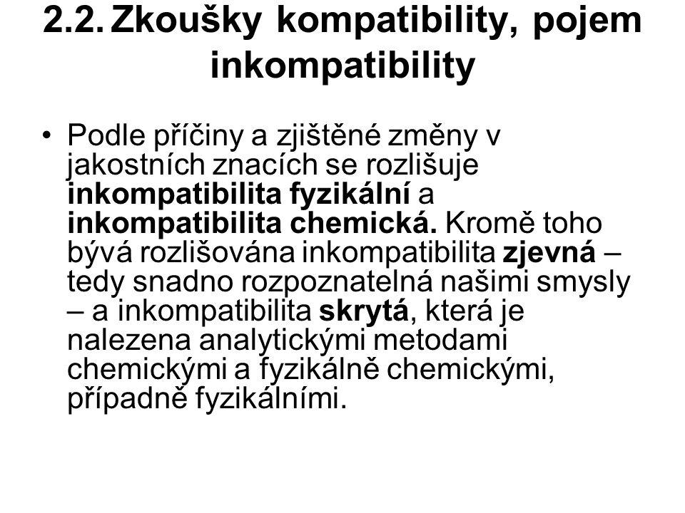 2.2.Zkoušky kompatibility, pojem inkompatibility Podle příčiny a zjištěné změny v jakostních znacích se rozlišuje inkompatibilita fyzikální a inkompatibilita chemická.