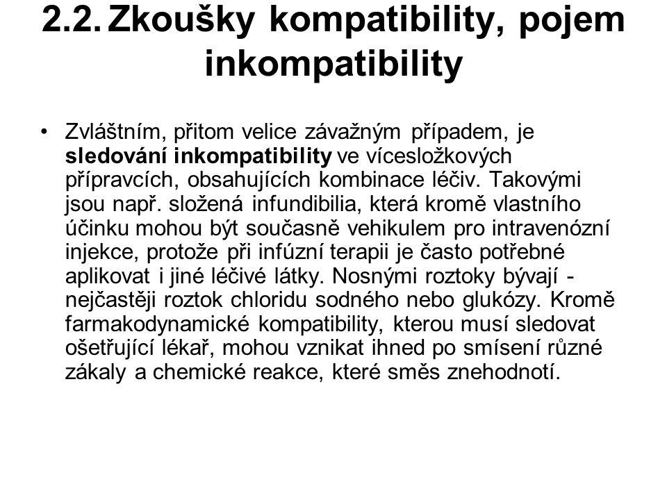 2.2.Zkoušky kompatibility, pojem inkompatibility Zvláštním, přitom velice závažným případem, je sledování inkompatibility ve vícesložkových přípravcích, obsahujících kombinace léčiv.