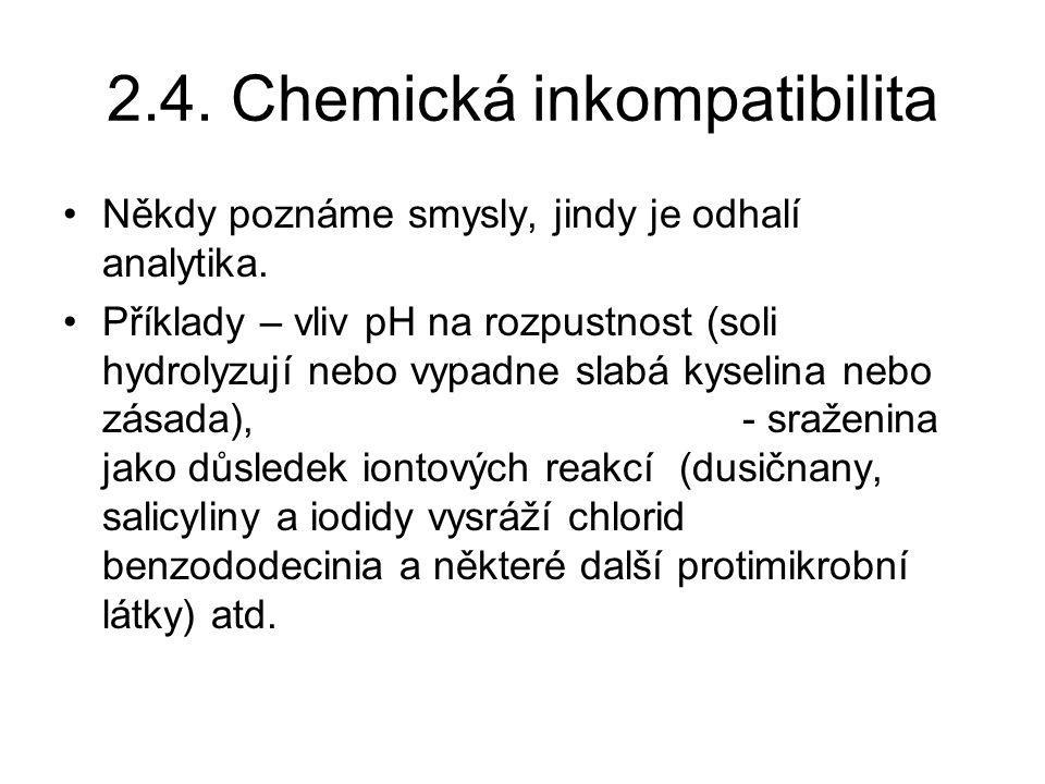 2.4.Chemická inkompatibilita Někdy poznáme smysly, jindy je odhalí analytika.