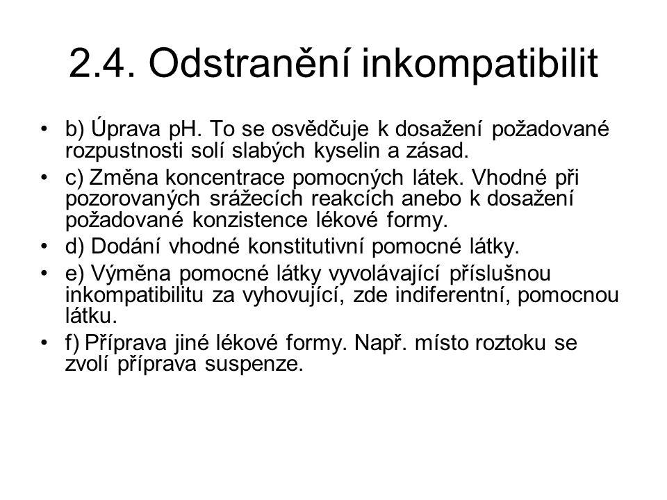 2.4.Odstranění inkompatibilit b) Úprava pH.