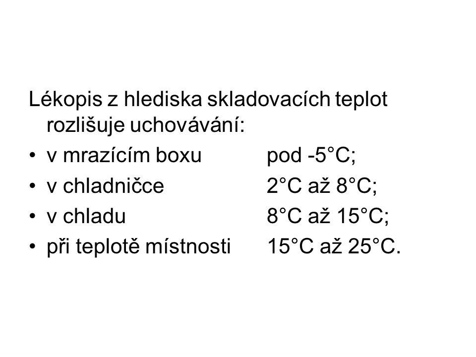 Lékopis z hlediska skladovacích teplot rozlišuje uchovávání: v mrazícím boxupod -5°C; v chladničce2°C až 8°C; v chladu8°C až 15°C; při teplotě místnosti15°C až 25°C.