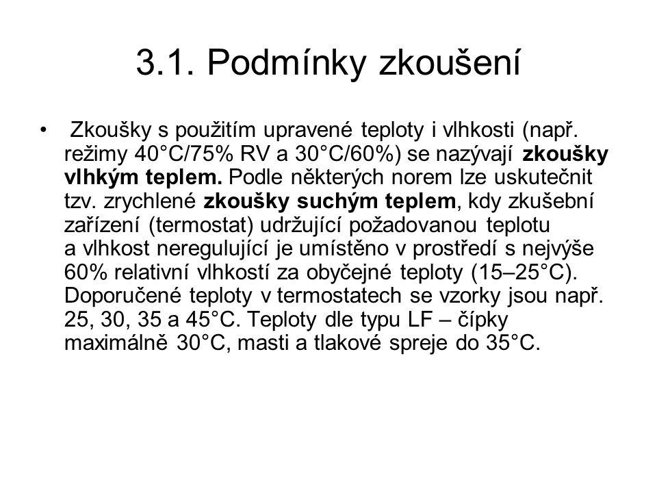 3.1.Podmínky zkoušení Zkoušky s použitím upravené teploty i vlhkosti (např.