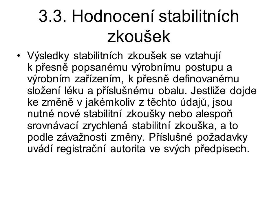 3.3. Hodnocení stabilitních zkoušek Výsledky stabilitních zkoušek se vztahují k přesně popsanému výrobnímu postupu a výrobním zařízením, k přesně defi
