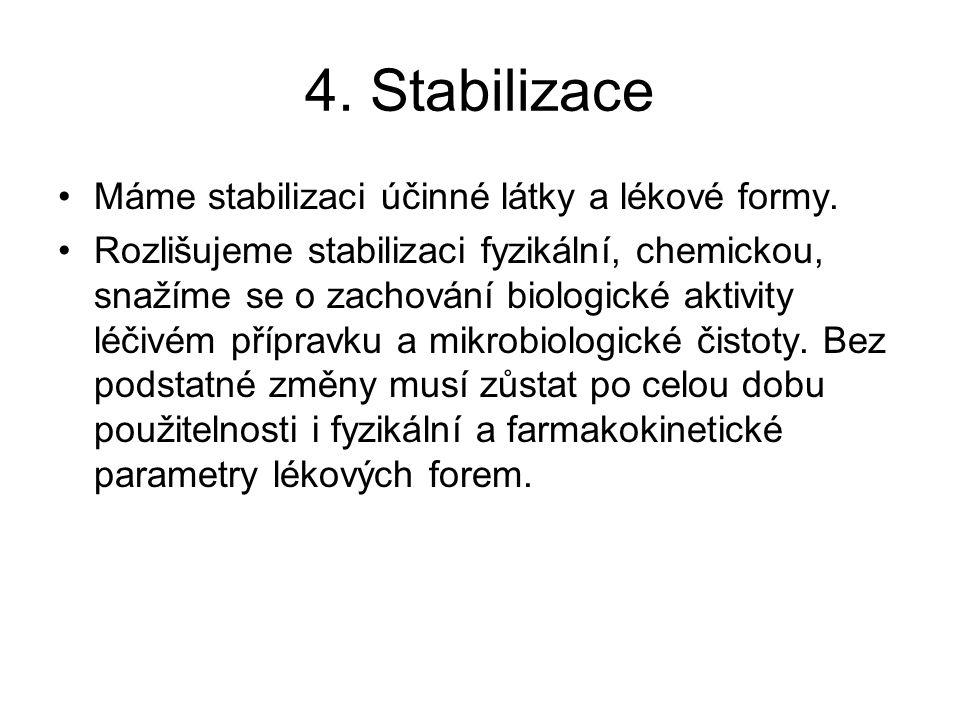 4.Stabilizace Máme stabilizaci účinné látky a lékové formy.