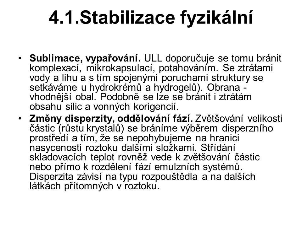 4.1.Stabilizace fyzikální Sublimace, vypařování.