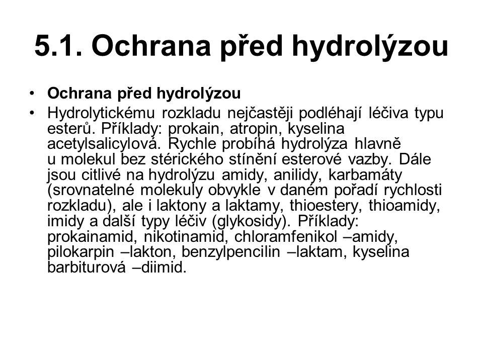 5.1. Ochrana před hydrolýzou Ochrana před hydrolýzou Hydrolytickému rozkladu nejčastěji podléhají léčiva typu esterů. Příklady: prokain, atropin, kyse