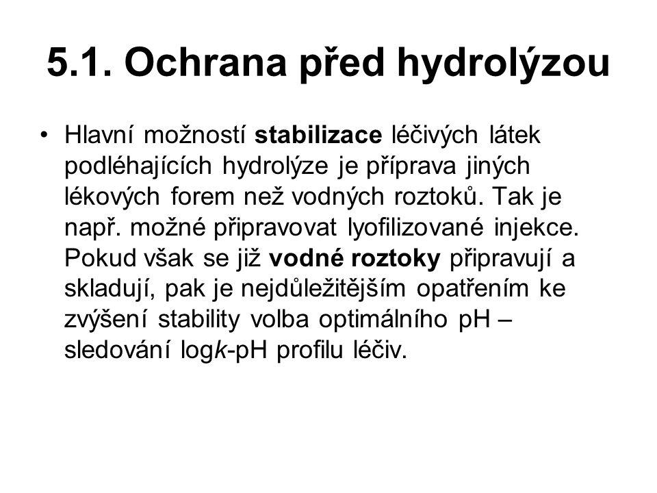 5.1. Ochrana před hydrolýzou Hlavní možností stabilizace léčivých látek podléhajících hydrolýze je příprava jiných lékových forem než vodných roztoků.