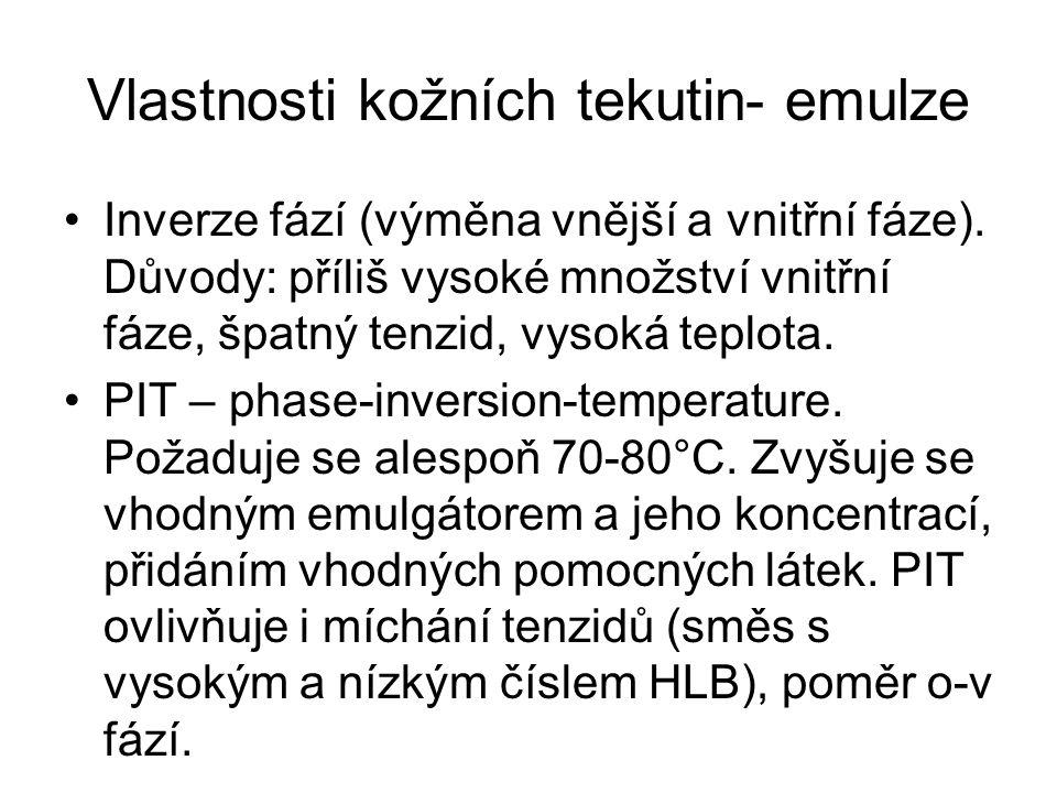 Vlastnosti kožních tekutin- emulze Inverze fází (výměna vnější a vnitřní fáze).