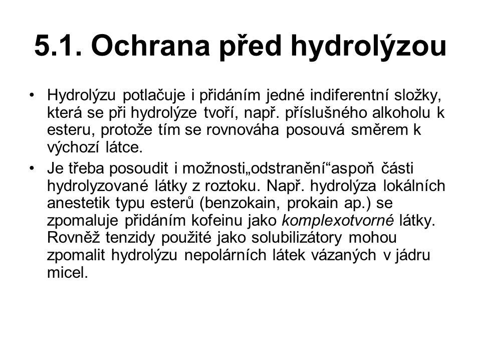 5.1. Ochrana před hydrolýzou Hydrolýzu potlačuje i přidáním jedné indiferentní složky, která se při hydrolýze tvoří, např. příslušného alkoholu k este