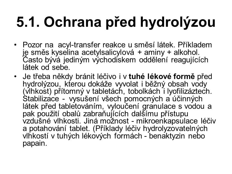 5.1.Ochrana před hydrolýzou Pozor na acyl-transfer reakce u směsí látek.