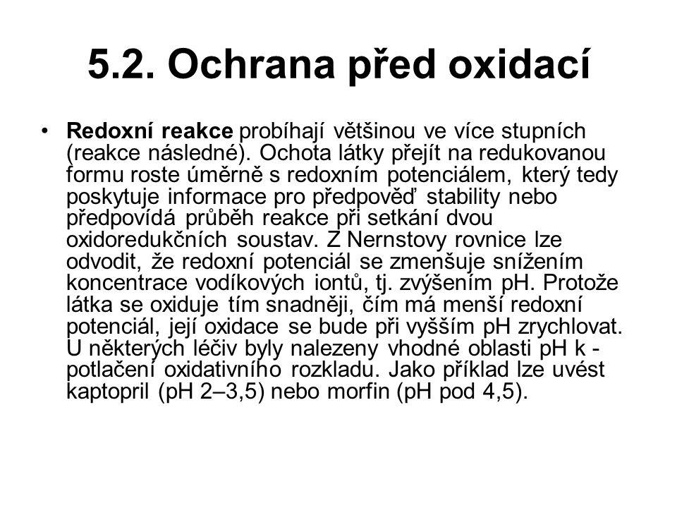 5.2.Ochrana před oxidací Redoxní reakce probíhají většinou ve více stupních (reakce následné).