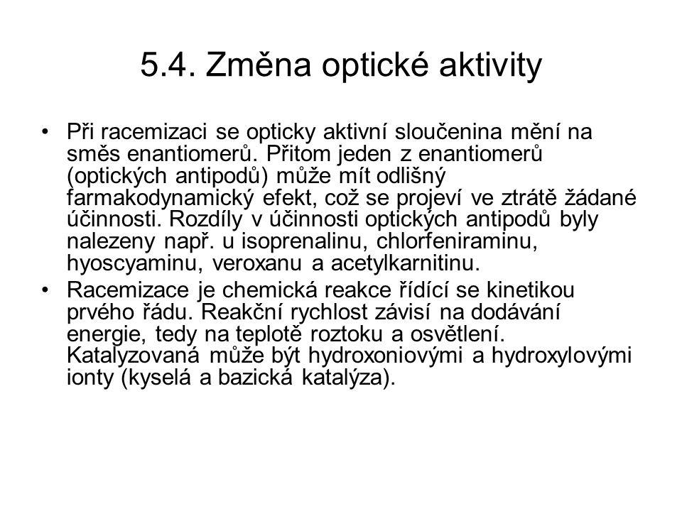 5.4.Změna optické aktivity Při racemizaci se opticky aktivní sloučenina mění na směs enantiomerů.