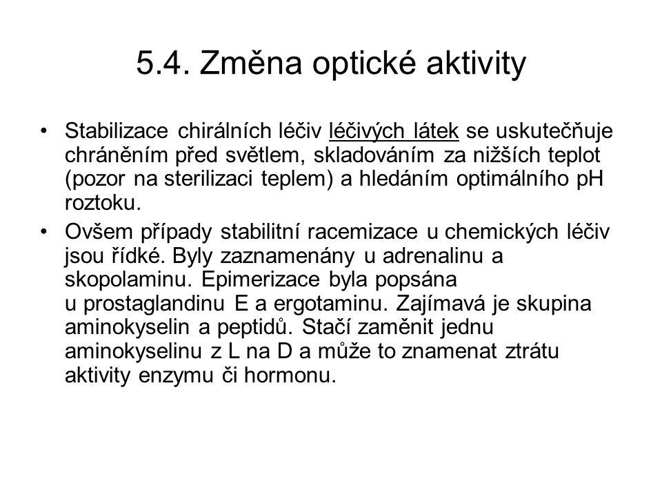 5.4. Změna optické aktivity Stabilizace chirálních léčiv léčivých látek se uskutečňuje chráněním před světlem, skladováním za nižších teplot (pozor na