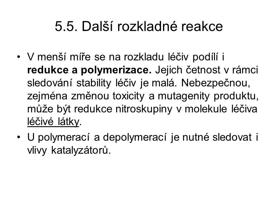 5.5.Další rozkladné reakce V menší míře se na rozkladu léčiv podílí i redukce a polymerizace.