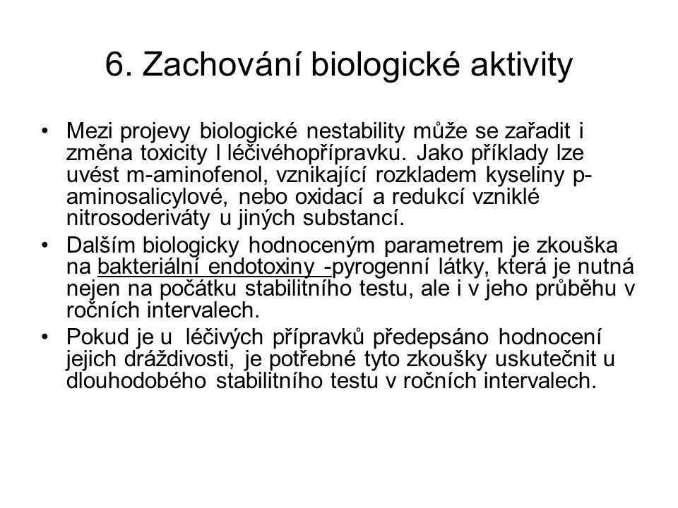 6. Zachování biologické aktivity Mezi projevy biologické nestability může se zařadit i změna toxicity l léčivéhopřípravku. Jako příklady lze uvést m-a