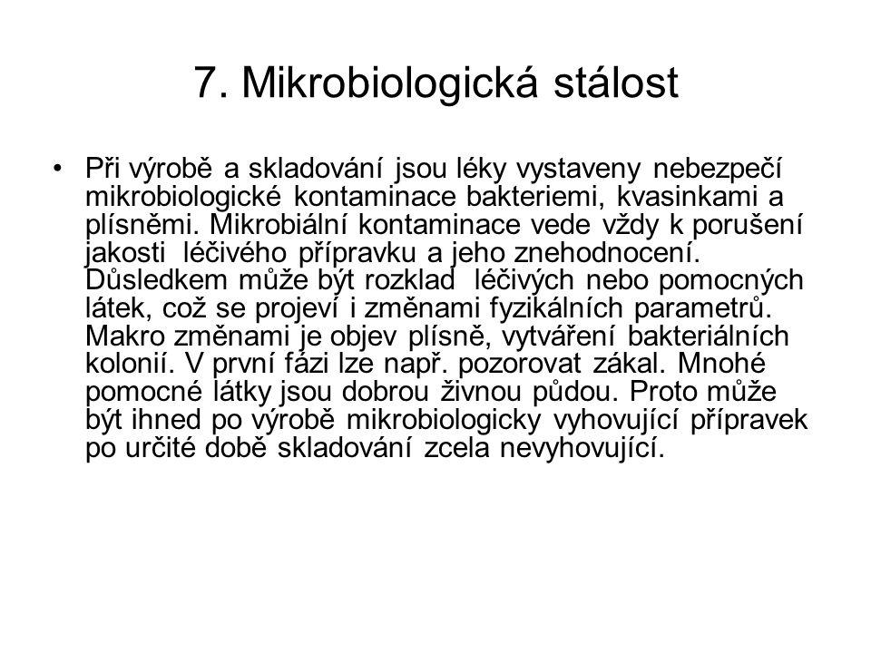 7. Mikrobiologická stálost Při výrobě a skladování jsou léky vystaveny nebezpečí mikrobiologické kontaminace bakteriemi, kvasinkami a plísněmi. Mikrob