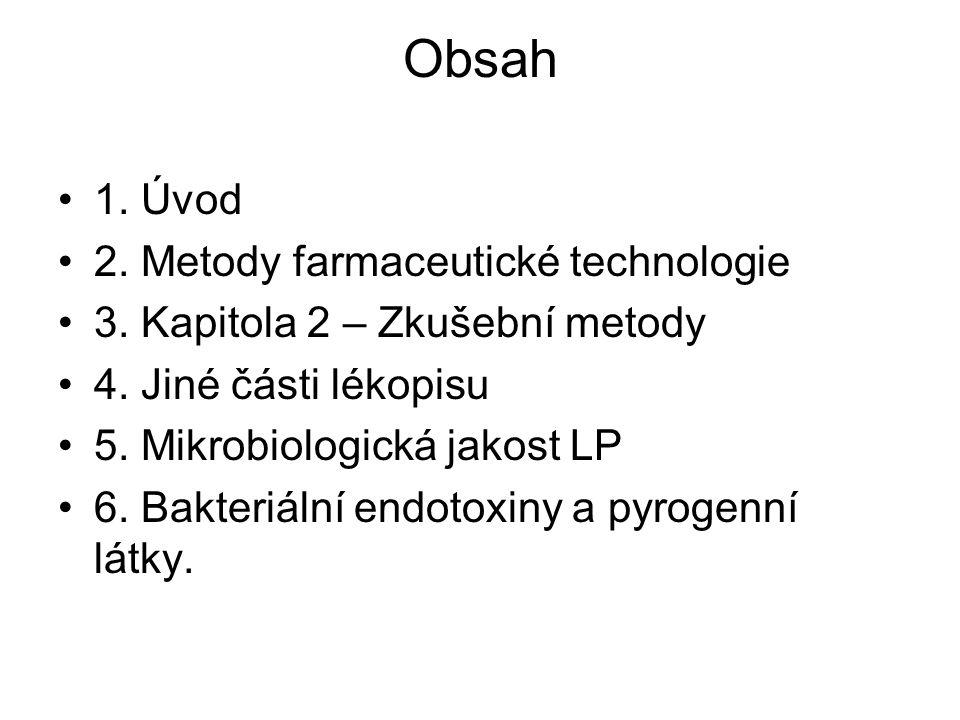 Obsah 1.Úvod 2. Metody farmaceutické technologie 3.