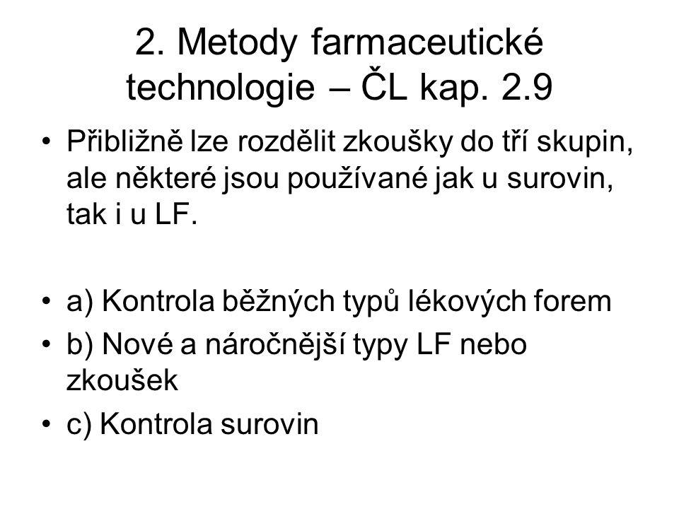2.Metody farmaceutické technologie – ČL kap.