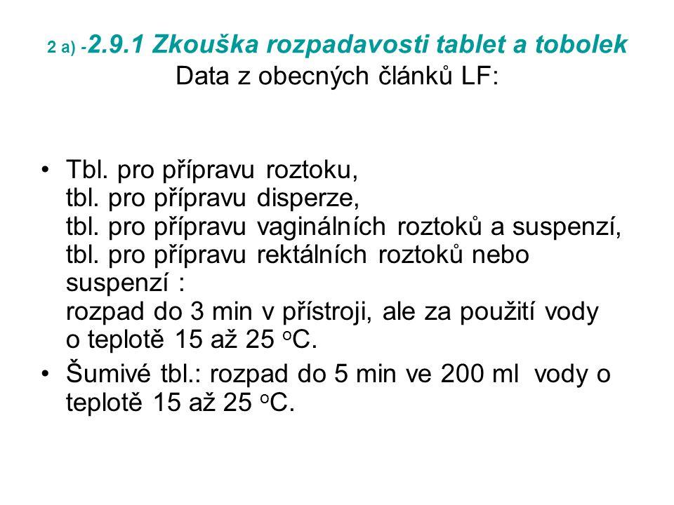2 a) - 2.9.1 Zkouška rozpadavosti tablet a tobolek Data z obecných článků LF: Tbl.