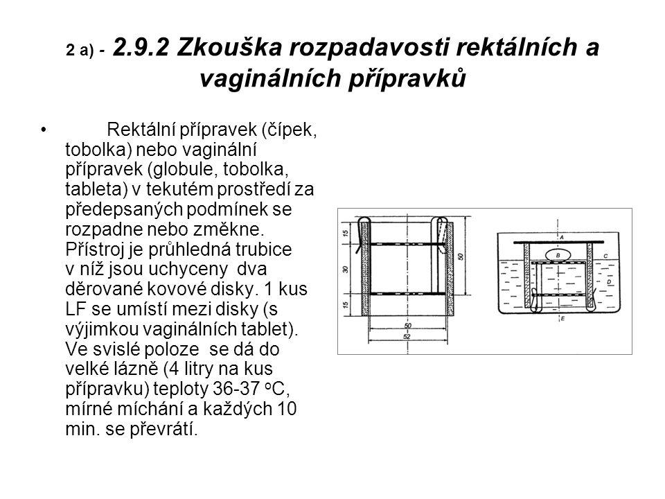 2 a) - 2.9.2 Zkouška rozpadavosti rektálních a vaginálních přípravků Rektální přípravek (čípek, tobolka) nebo vaginální přípravek (globule, tobolka, tableta) v tekutém prostředí za předepsaných podmínek se rozpadne nebo změkne.