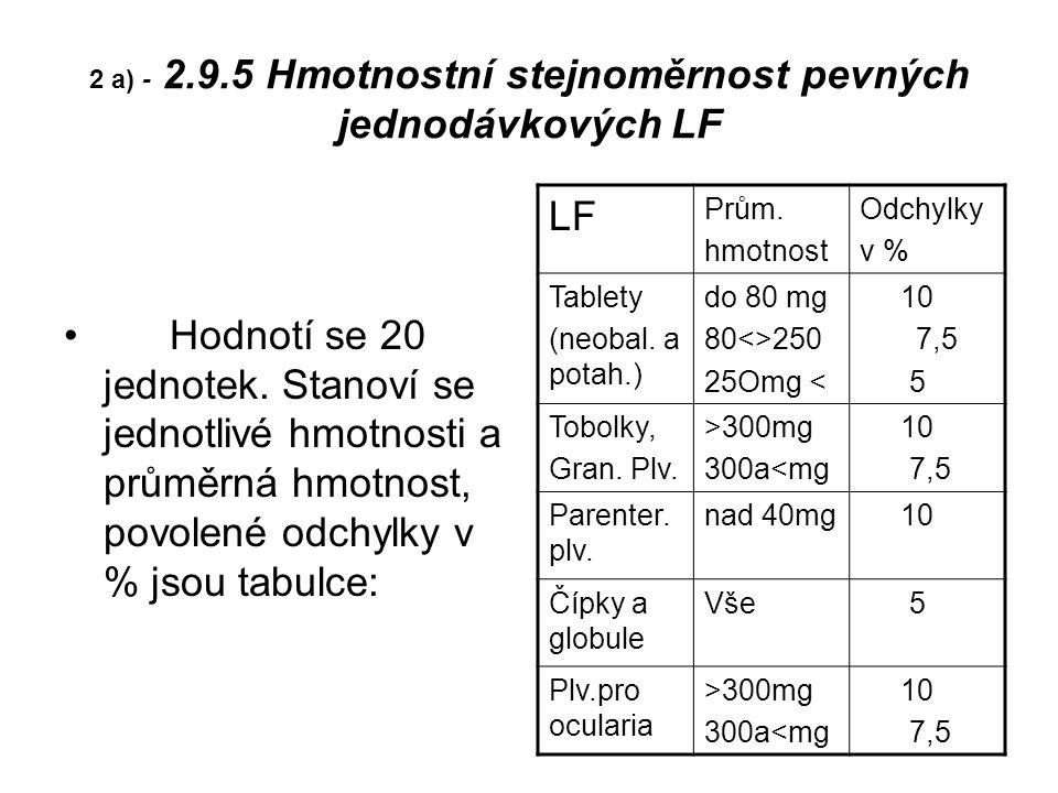 2 a) - 2.9.5 Hmotnostní stejnoměrnost pevných jednodávkových LF Hodnotí se 20 jednotek.