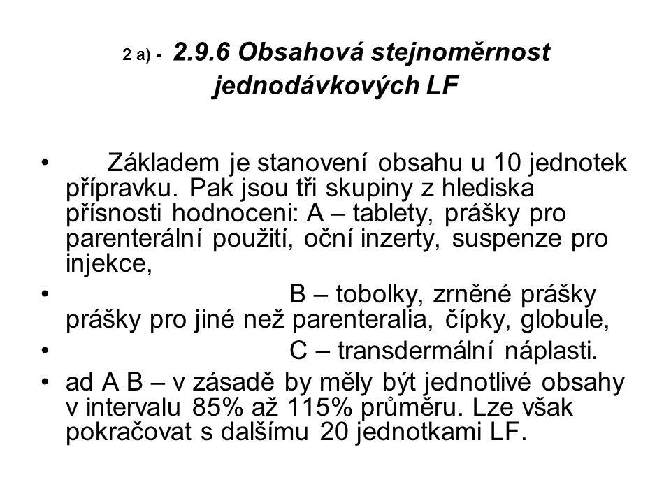 2 a) - 2.9.6 Obsahová stejnoměrnost jednodávkových LF Základem je stanovení obsahu u 10 jednotek přípravku.