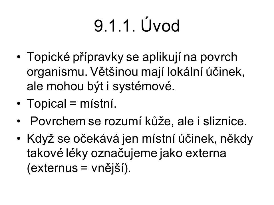 9.1.1.Úvod Topické přípravky se aplikují na povrch organismu.