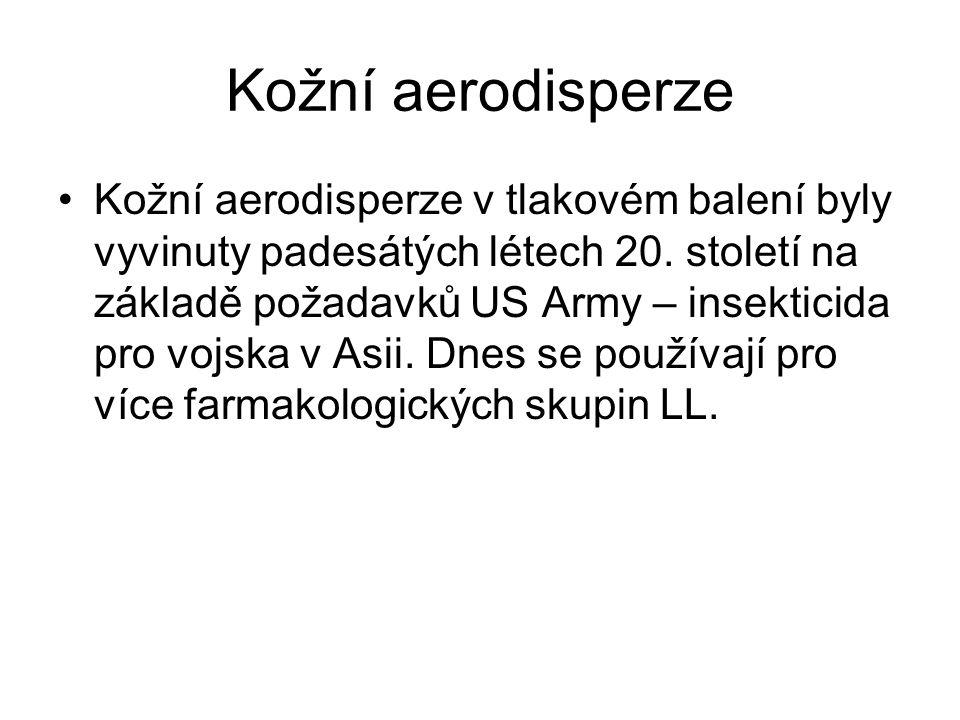 Kožní aerodisperze Kožní aerodisperze v tlakovém balení byly vyvinuty padesátých létech 20.