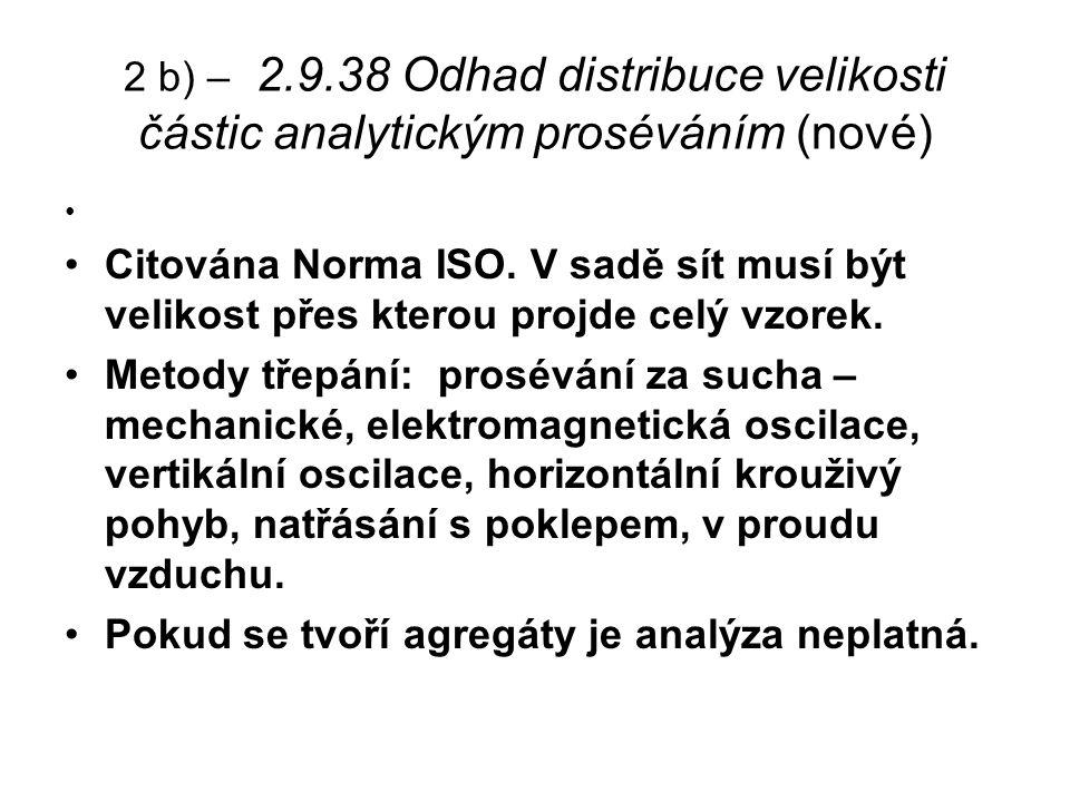 2 b) – 2.9.38 Odhad distribuce velikosti částic analytickým proséváním (nové) Citována Norma ISO.