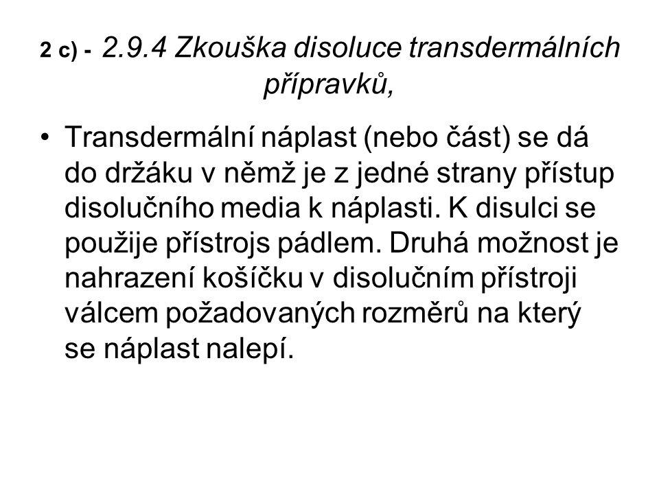2 c) - 2.9.4 Zkouška disoluce transdermálních přípravků, Transdermální náplast (nebo část) se dá do držáku v němž je z jedné strany přístup disolučního media k náplasti.