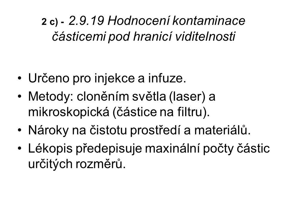 Určeno pro injekce a infuze.Metody: cloněním světla (laser) a mikroskopická (částice na filtru).