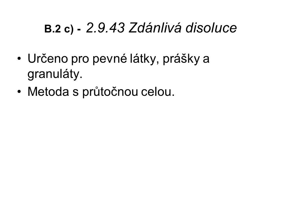 B.2 c) - 2.9.43 Zdánlivá disoluce Určeno pro pevné látky, prášky a granuláty.