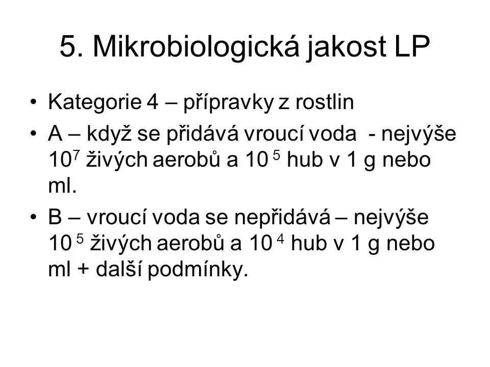 5. Mikrobiologická jakost LP Kategorie 4 – přípravky z rostlin A – když se přidává vroucí voda - nejvýše 10 7 živých aerobů a 10 5 hub v 1 g nebo ml.