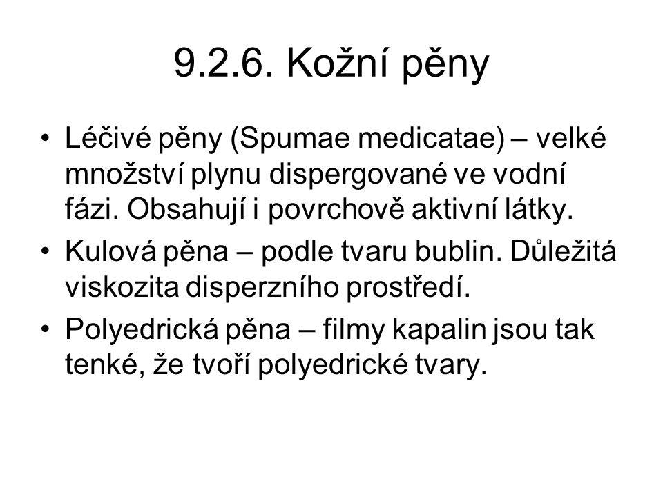 9.2.6.Kožní pěny Léčivé pěny (Spumae medicatae) – velké množství plynu dispergované ve vodní fázi.