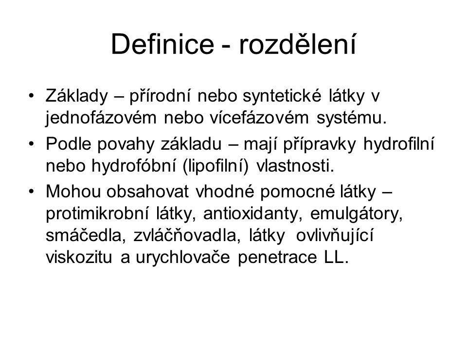 Definice - rozdělení Základy – přírodní nebo syntetické látky v jednofázovém nebo vícefázovém systému.