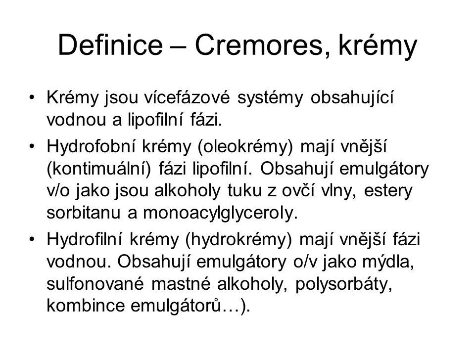 Definice – Cremores, krémy Krémy jsou vícefázové systémy obsahující vodnou a lipofilní fázi.