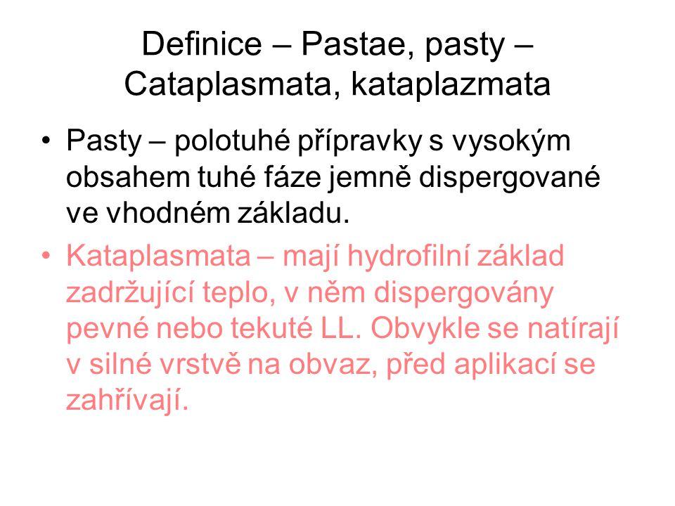 Definice – Pastae, pasty – Cataplasmata, kataplazmata Pasty – polotuhé přípravky s vysokým obsahem tuhé fáze jemně dispergované ve vhodném základu.