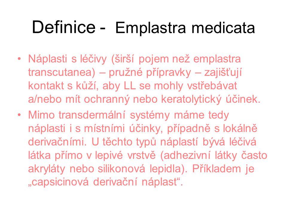 Definice - Emplastra medicata Náplasti s léčivy (širší pojem než emplastra transcutanea) – pružné přípravky – zajišťují kontakt s kůží, aby LL se mohly vstřebávat a/nebo mít ochranný nebo keratolytický účinek.
