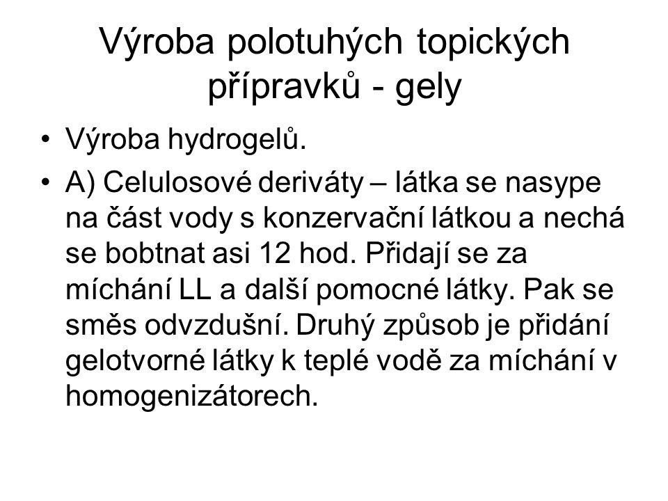 Výroba polotuhých topických přípravků - gely Výroba hydrogelů.