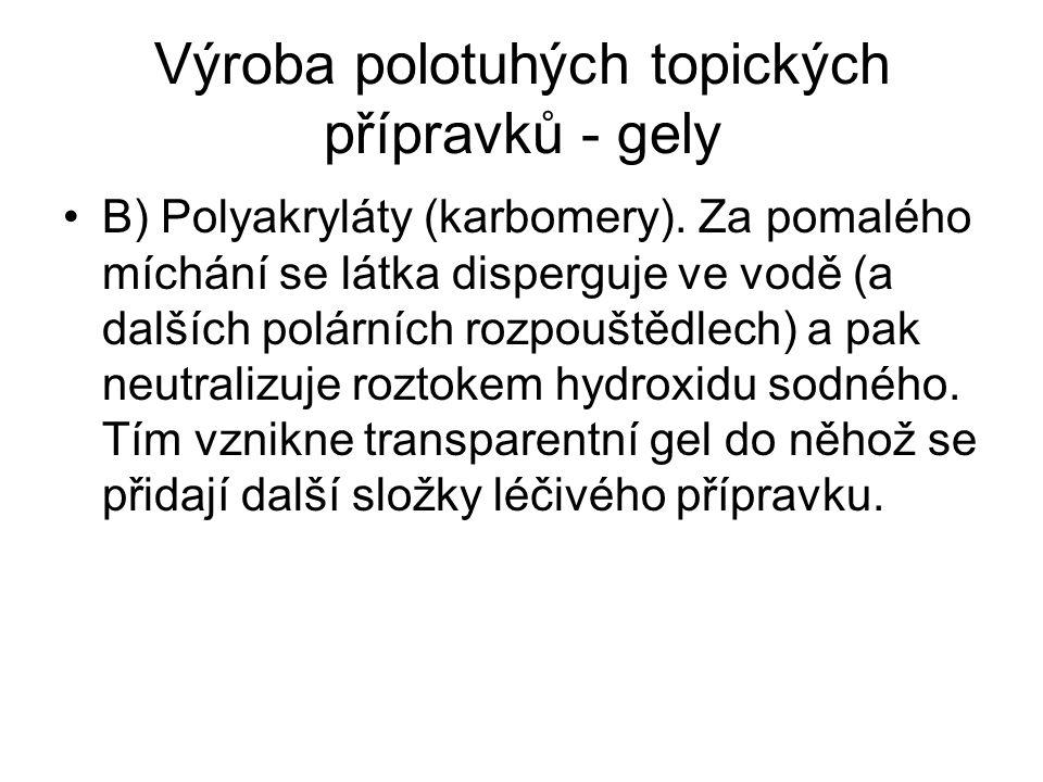 Výroba polotuhých topických přípravků - gely B) Polyakryláty (karbomery).