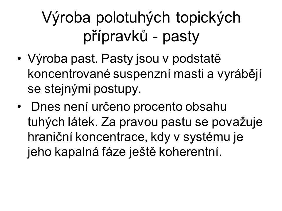 Výroba polotuhých topických přípravků - pasty Výroba past.