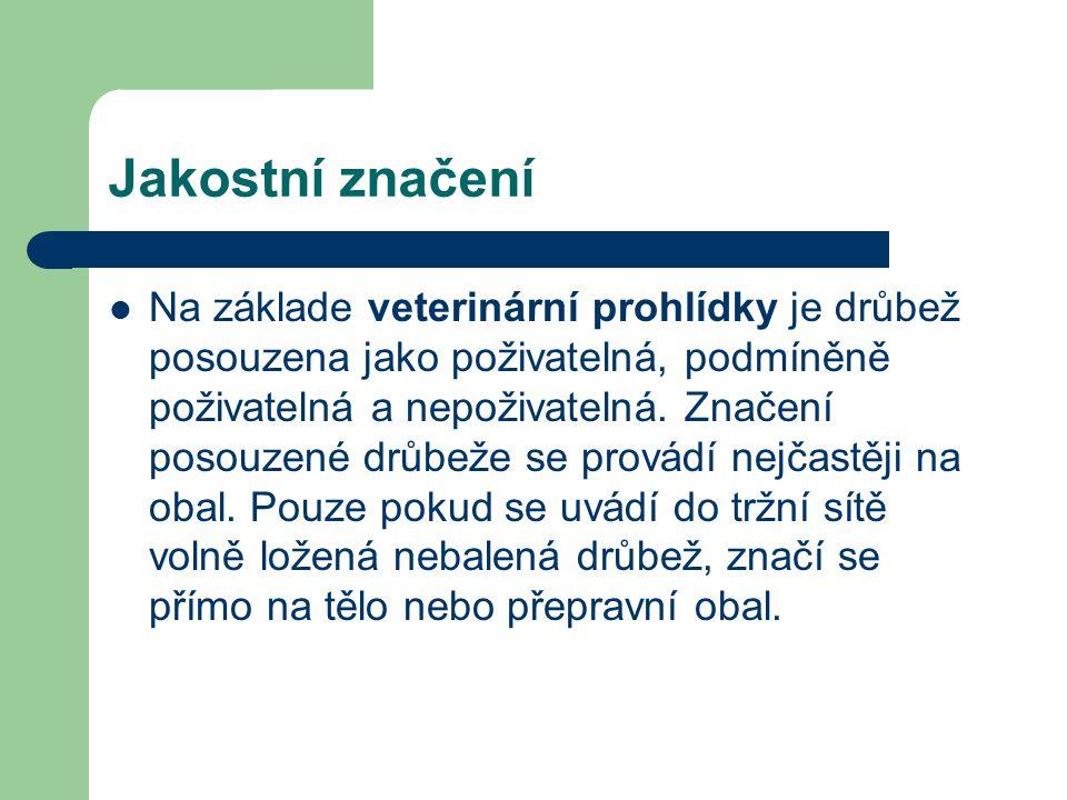 Jakostní značení Na základe veterinární prohlídky je drůbež posouzena jako poživatelná, podmíněně poživatelná a nepoživatelná. Značení posouzené drůbe