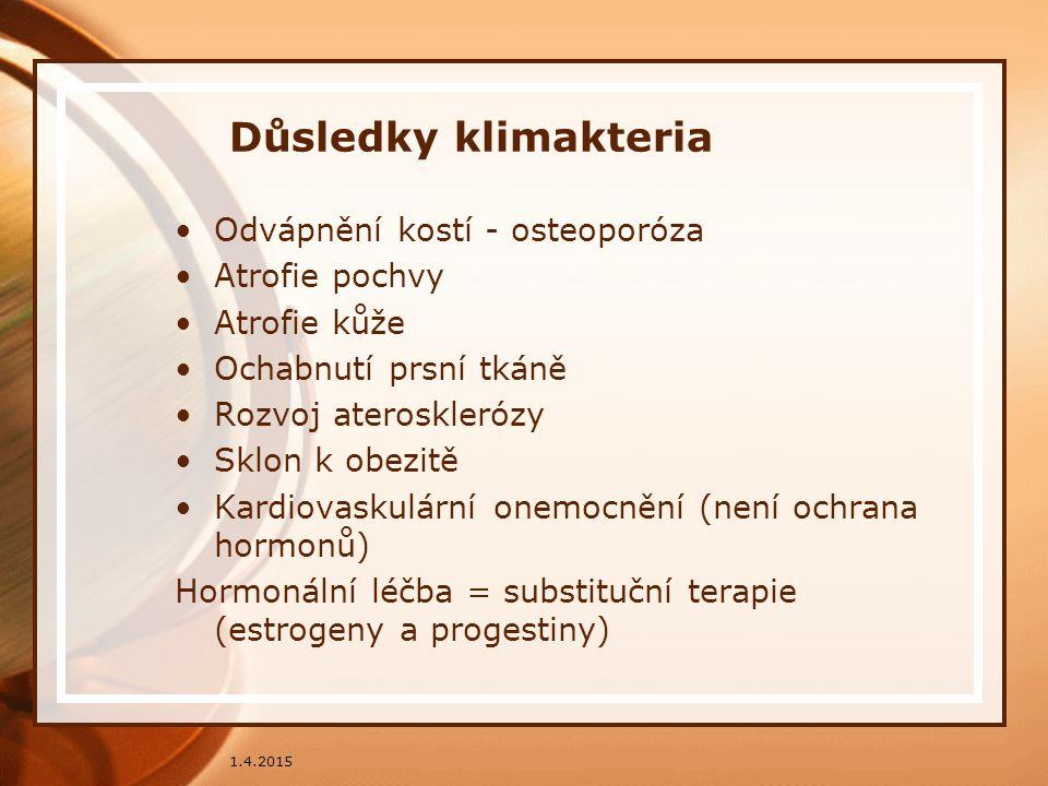 Důsledky klimakteria Odvápnění kostí - osteoporóza Atrofie pochvy Atrofie kůže Ochabnutí prsní tkáně Rozvoj aterosklerózy Sklon k obezitě Kardiovaskul
