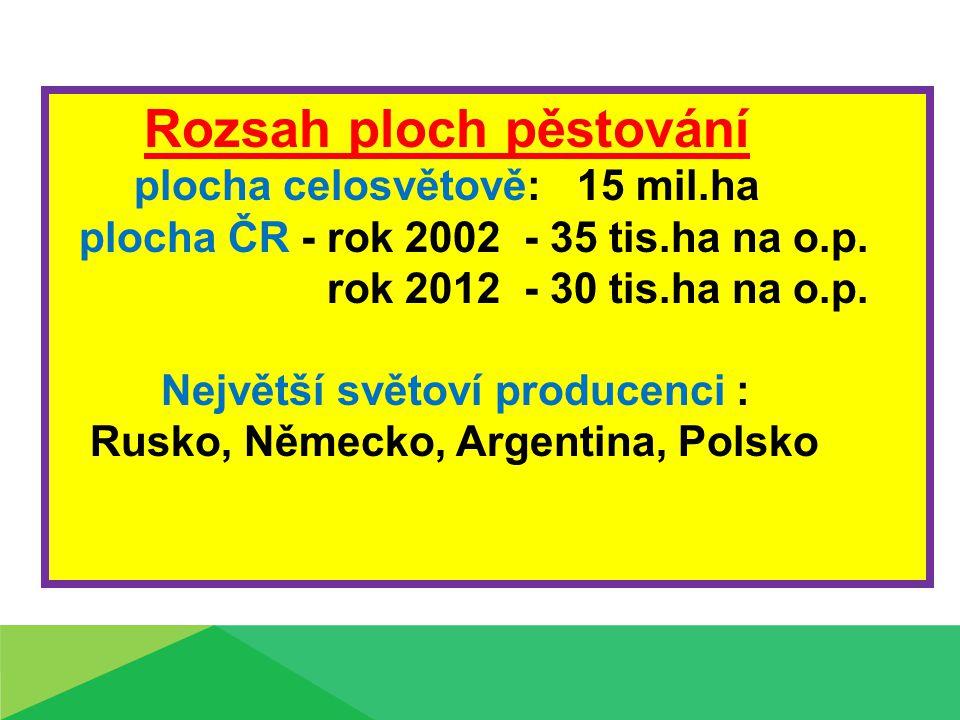 Rozsah ploch pěstování plocha celosvětově: 15 mil.ha plocha ČR - rok 2002 - 35 tis.ha na o.p. rok 2012 - 30 tis.ha na o.p. Největší světoví producenci