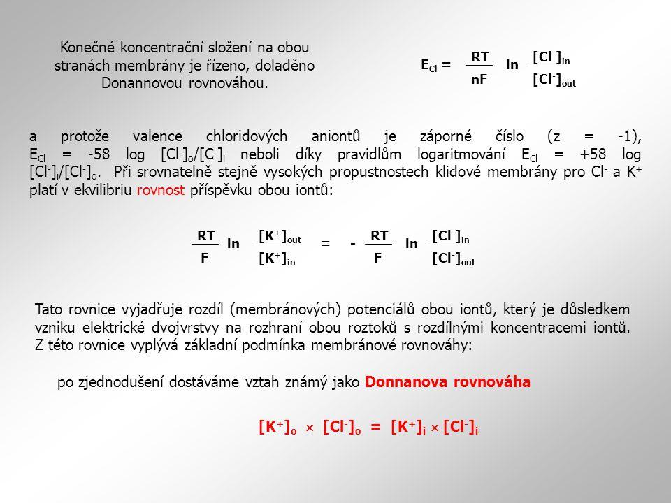 a protože valence chloridových aniontů je záporné číslo (z = -1), E Cl = -58 log [Cl - ] o /[C - ] i neboli díky pravidlům logaritmování E Cl = +58 lo