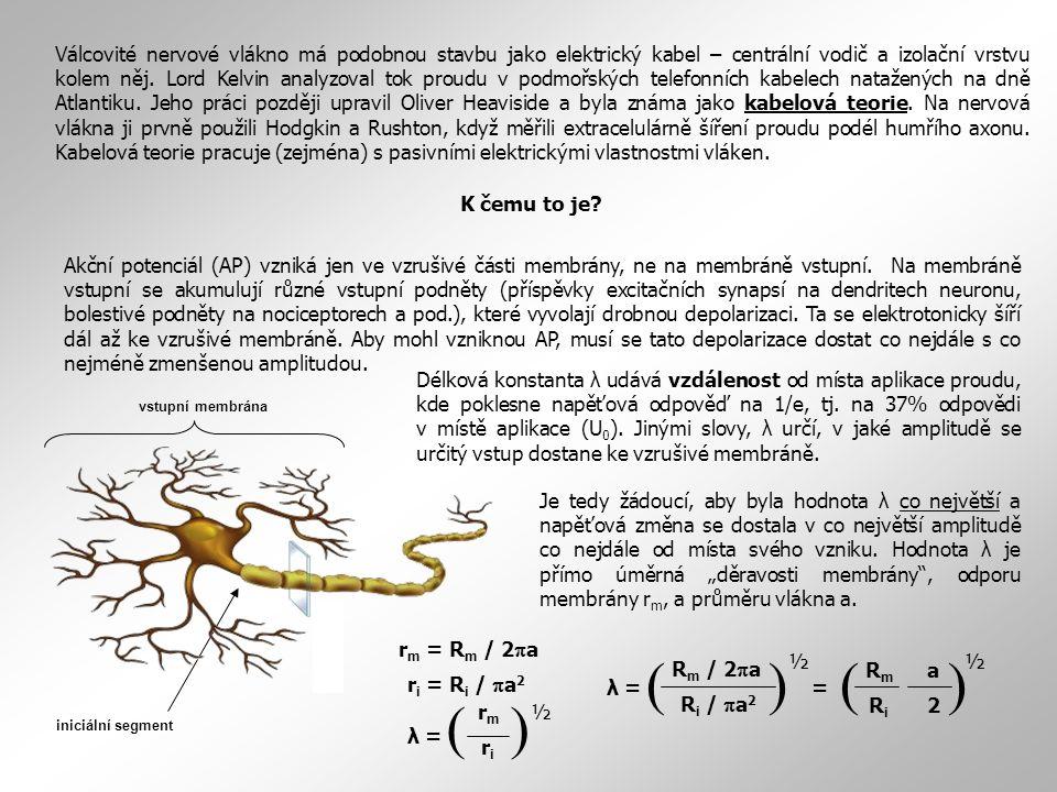  = R.C Časová konstanta  udává dobu, za kterou potenciál dosáhne 63% své výsledné hodnoty (1 – 1/e).