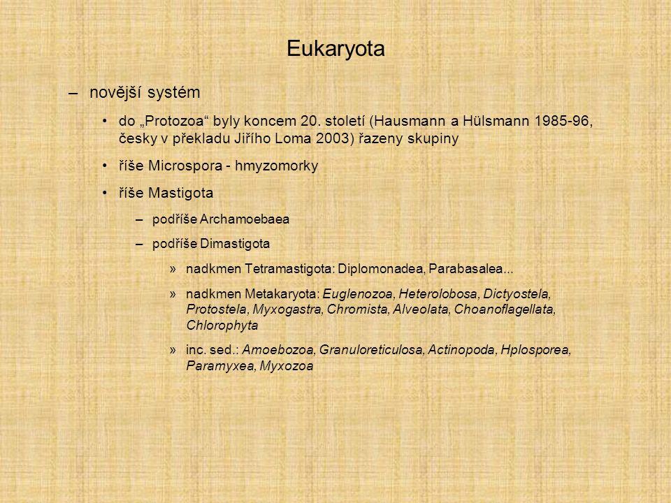 Eukaryota –ještě novější systém nové vydání knihy Hausmann a Hülsmann, spolu s Radekovou, 2003, přejmenované na Protistology použití molekulárního kladogramu k vymezení kmenů, neděleno na říše –Tetramastigota: Diplomonadea - giardie, Parabasalea - bičenky –Discicristata: Euglenozoa - krásnoočka, trypanosomy –Alveolata: Dinoflagelata - obrněnky, Apicomplexa - výtrusovci, Ciliata - nálevníci –Heterokonta - chaluhy, rozsivky...