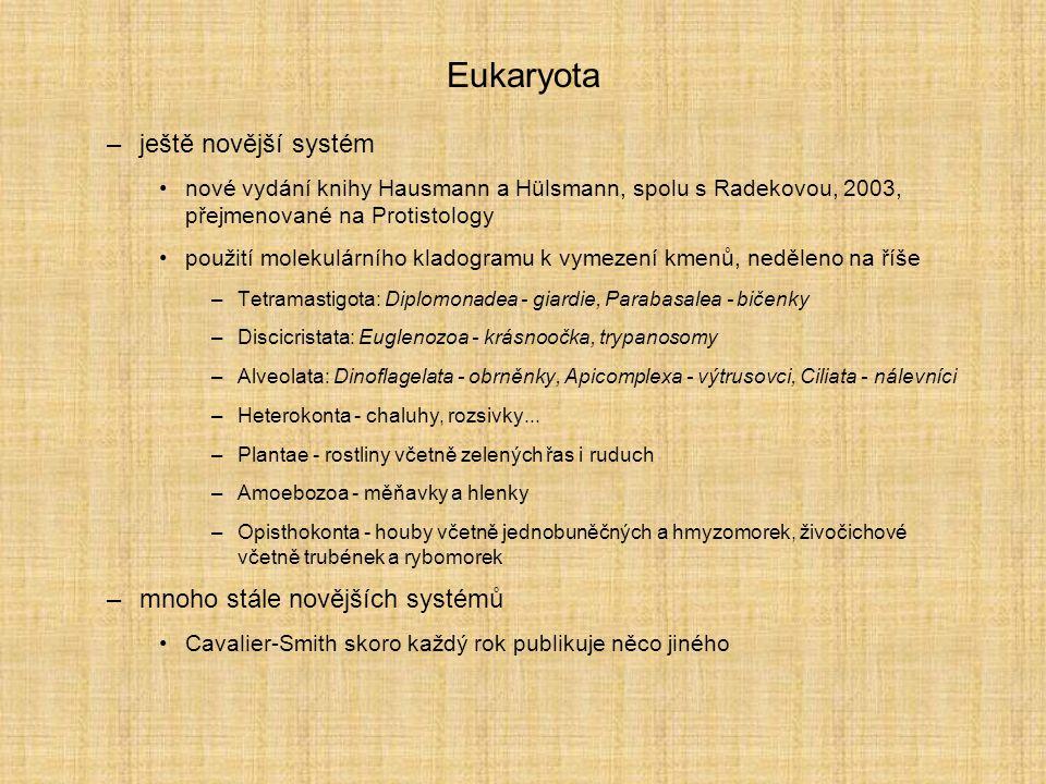 Eukaryota –ještě novější systém nové vydání knihy Hausmann a Hülsmann, spolu s Radekovou, 2003, přejmenované na Protistology použití molekulárního kla