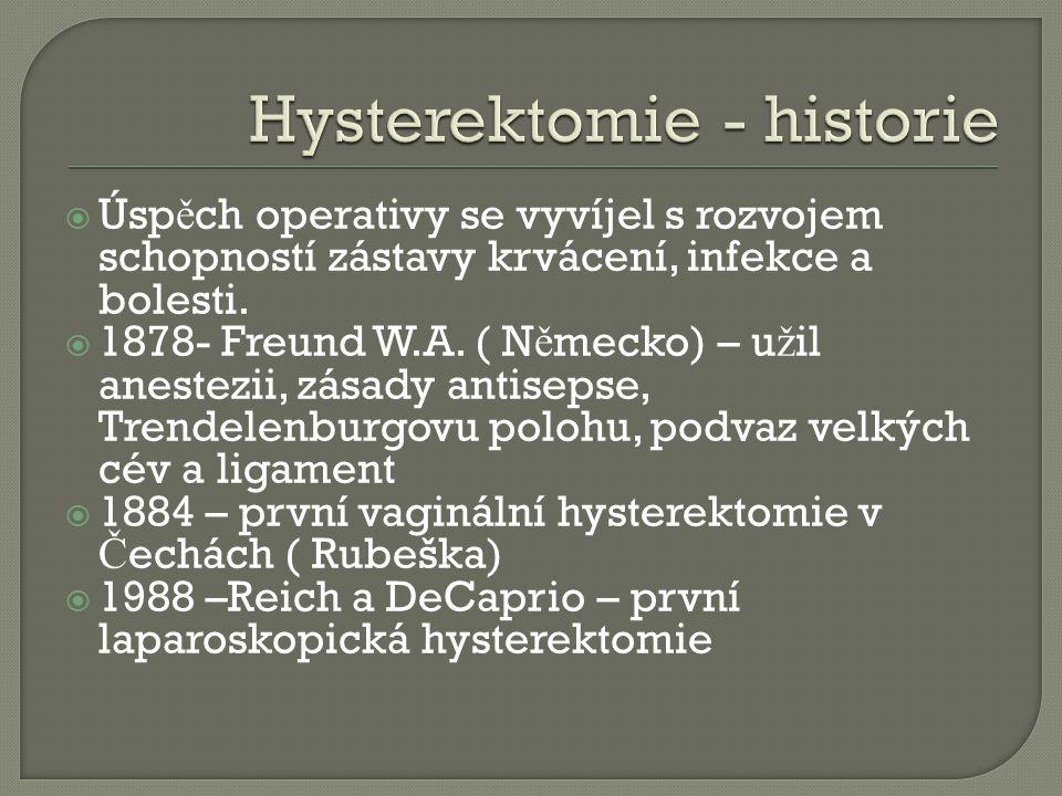  Úsp ě ch operativy se vyvíjel s rozvojem schopností zástavy krvácení, infekce a bolesti.  1878- Freund W.A. ( N ě mecko) – u ž il anestezii, zásady